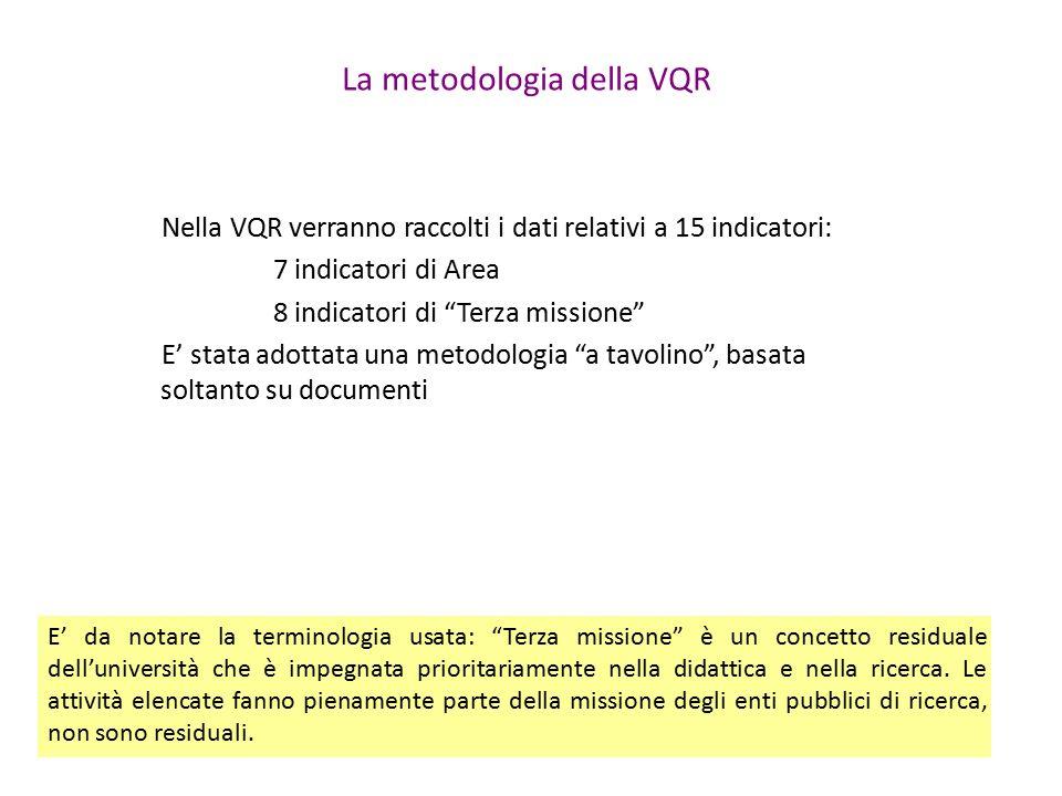 La metodologia della VQR Nella VQR verranno raccolti i dati relativi a 15 indicatori: 7 indicatori di Area 8 indicatori di Terza missione E' stata adottata una metodologia a tavolino , basata soltanto su documenti E' da notare la terminologia usata: Terza missione è un concetto residuale dell'università che è impegnata prioritariamente nella didattica e nella ricerca.