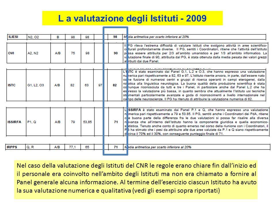 L a valutazione degli Istituti - 2009 Nel caso della valutazione degli Istituti del CNR le regole erano chiare fin dall'inizio ed il personale era coinvolto nell'ambito degli Istituti ma non era chiamato a fornire al Panel generale alcuna informazione.