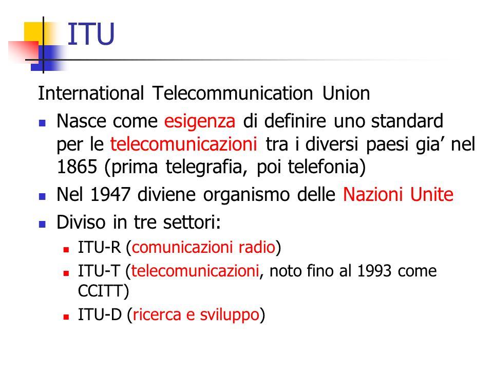 ITU International Telecommunication Union Nasce come esigenza di definire uno standard per le telecomunicazioni tra i diversi paesi gia' nel 1865 (prima telegrafia, poi telefonia) Nel 1947 diviene organismo delle Nazioni Unite Diviso in tre settori: ITU-R (comunicazioni radio) ITU-T (telecomunicazioni, noto fino al 1993 come CCITT) ITU-D (ricerca e sviluppo)
