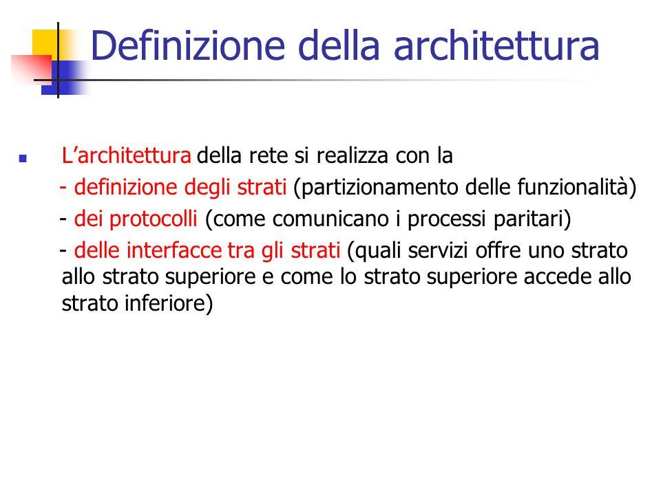 Definizione della architettura L'architettura della rete si realizza con la - definizione degli strati (partizionamento delle funzionalità) - dei prot