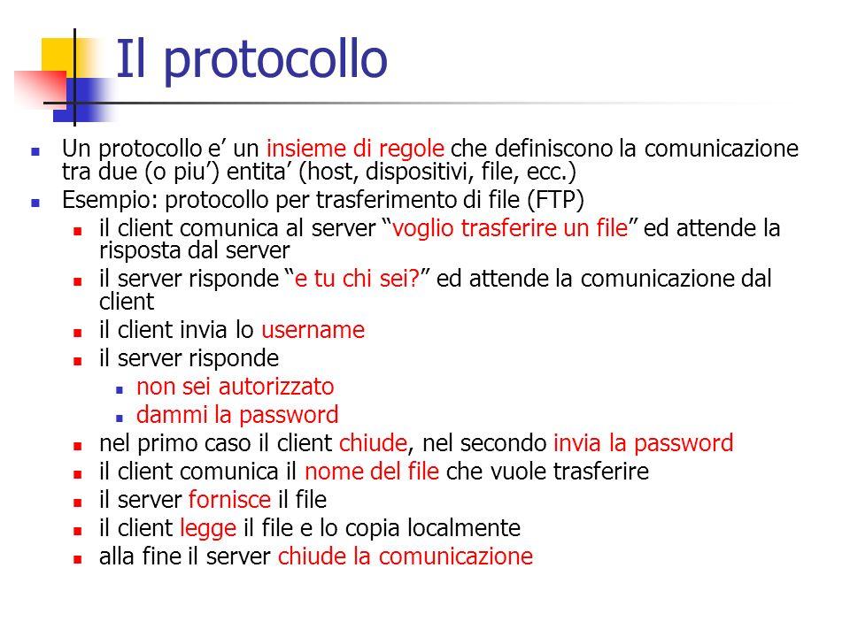 Il protocollo Un protocollo e' un insieme di regole che definiscono la comunicazione tra due (o piu') entita' (host, dispositivi, file, ecc.) Esempio: protocollo per trasferimento di file (FTP) il client comunica al server voglio trasferire un file ed attende la risposta dal server il server risponde e tu chi sei ed attende la comunicazione dal client il client invia lo username il server risponde non sei autorizzato dammi la password nel primo caso il client chiude, nel secondo invia la password il client comunica il nome del file che vuole trasferire il server fornisce il file il client legge il file e lo copia localmente alla fine il server chiude la comunicazione