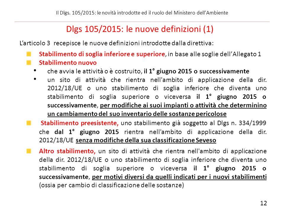 L'articolo 3 recepisce le nuove definizioni introdotte dalla direttiva: Stabilimento di soglia inferiore e superiore, in base alle soglie dell'Allegat
