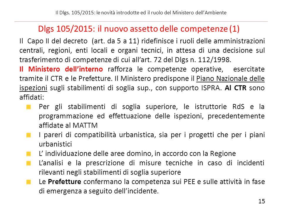 Il Capo II del decreto (art. da 5 a 11) ridefinisce i ruoli delle amministrazioni centrali, regioni, enti locali e organi tecnici, in attesa di una de