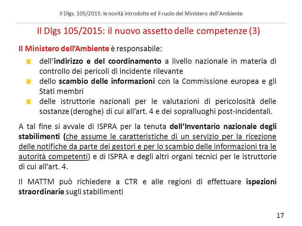 Il Ministero dell'Ambiente è responsabile: dell'indirizzo e del coordinamento a livello nazionale in materia di controllo dei pericoli di incidente ri
