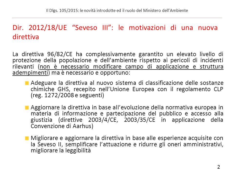 Le fasi del recepimento della direttiva Seveso III: Dlgs 14 marzo 2014, n.
