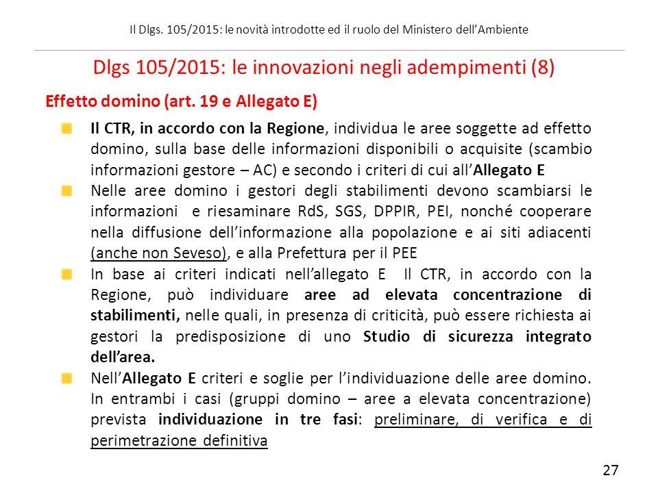 Effetto domino (art. 19 e Allegato E) Il CTR, in accordo con la Regione, individua le aree soggette ad effetto domino, sulla base delle informazioni d