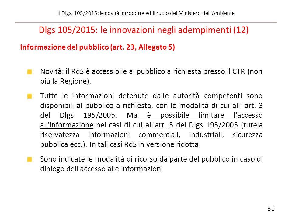 Informazione del pubblico (art. 23, Allegato 5) Novità: il RdS è accessibile al pubblico a richiesta presso il CTR (non più la Regione). Tutte le info