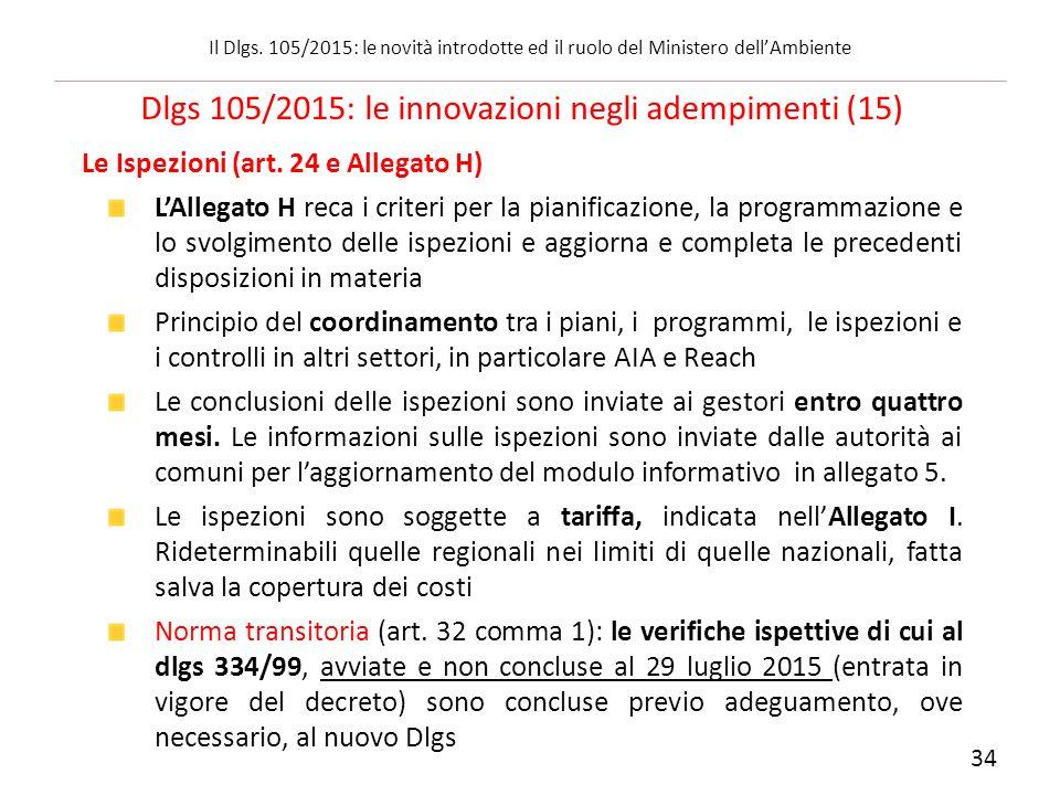 Le Ispezioni (art. 24 e Allegato H) L'Allegato H reca i criteri per la pianificazione, la programmazione e lo svolgimento delle ispezioni e aggiorna e