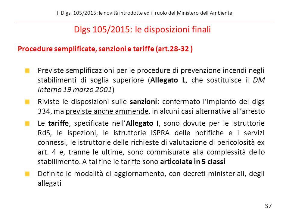Procedure semplificate, sanzioni e tariffe (art.28-32 ) Previste semplificazioni per le procedure di prevenzione incendi negli stabilimenti di soglia