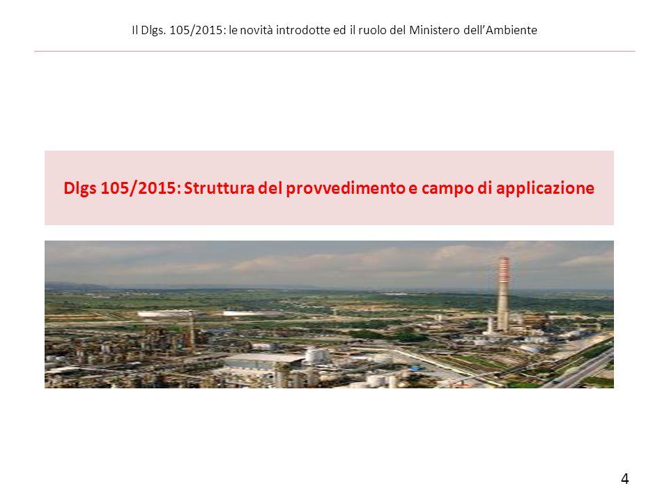4 Il Dlgs. 105/2015: le novità introdotte ed il ruolo del Ministero dell'Ambiente Dlgs 105/2015: Struttura del provvedimento e campo di applicazione