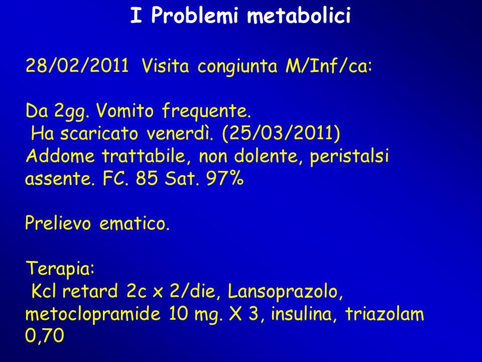 I Problemi metabolici 28/02/2011 Visita congiunta M/Inf/ca: Da 2gg. Vomito frequente. Ha scaricato venerdì. (25/03/2011) Addome trattabile, non dolent
