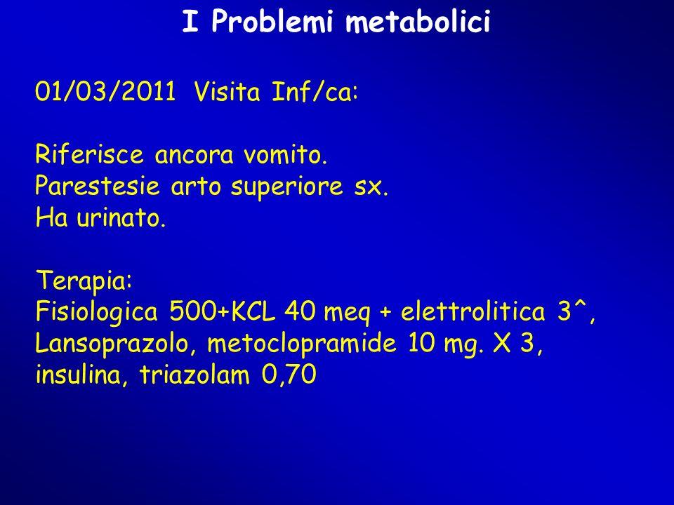I Problemi metabolici 01/03/2011 Visita Inf/ca: Riferisce ancora vomito. Parestesie arto superiore sx. Ha urinato. Terapia: Fisiologica 500+KCL 40 meq