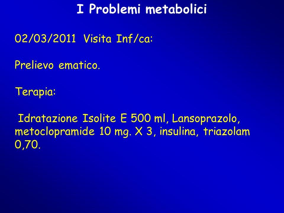 I Problemi metabolici 02/03/2011 Visita Inf/ca: Prelievo ematico.