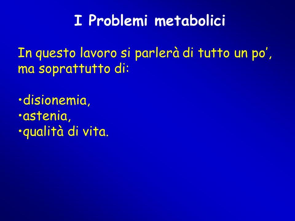 I Problemi metabolici In questo lavoro si parlerà di tutto un po', ma soprattutto di: disionemia, astenia, qualità di vita.