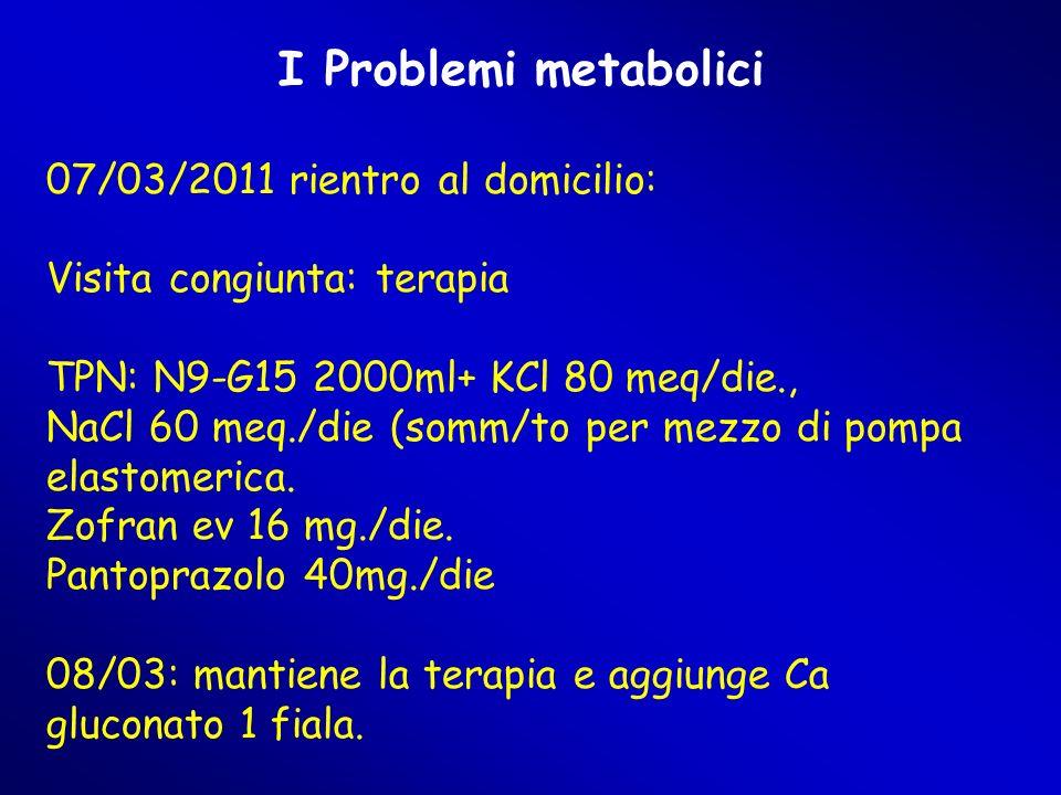 I Problemi metabolici 07/03/2011 rientro al domicilio: Visita congiunta: terapia TPN: N9-G15 2000ml+ KCl 80 meq/die., NaCl 60 meq./die (somm/to per mezzo di pompa elastomerica.