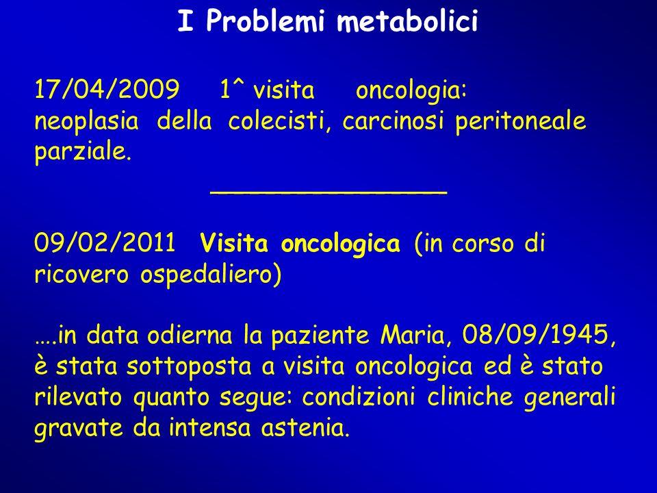 I Problemi metabolici 17/04/2009 1^ visita oncologia: neoplasia della colecisti, carcinosi peritoneale parziale.