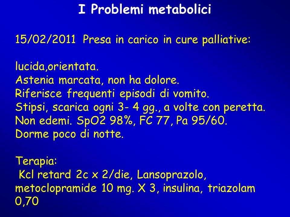 I Problemi metabolici 15/02/2011 Presa in carico in cure palliative: lucida,orientata.