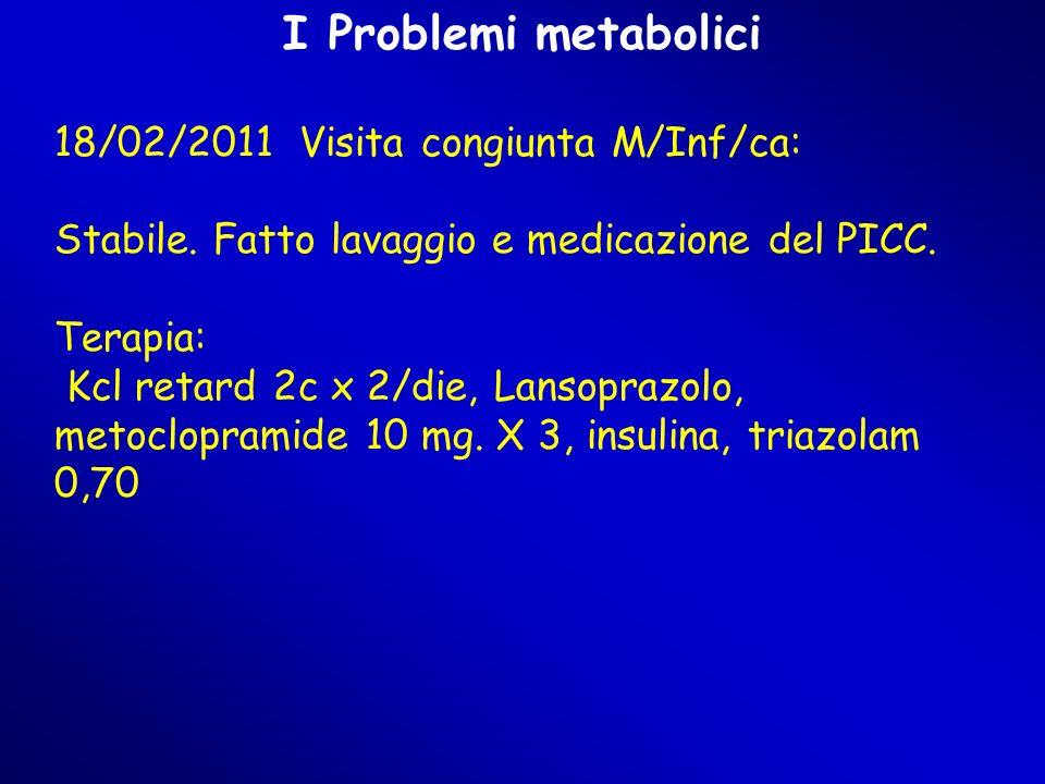 I Problemi metabolici 18/02/2011 Visita congiunta M/Inf/ca: Stabile. Fatto lavaggio e medicazione del PICC. Terapia: Kcl retard 2c x 2/die, Lansoprazo