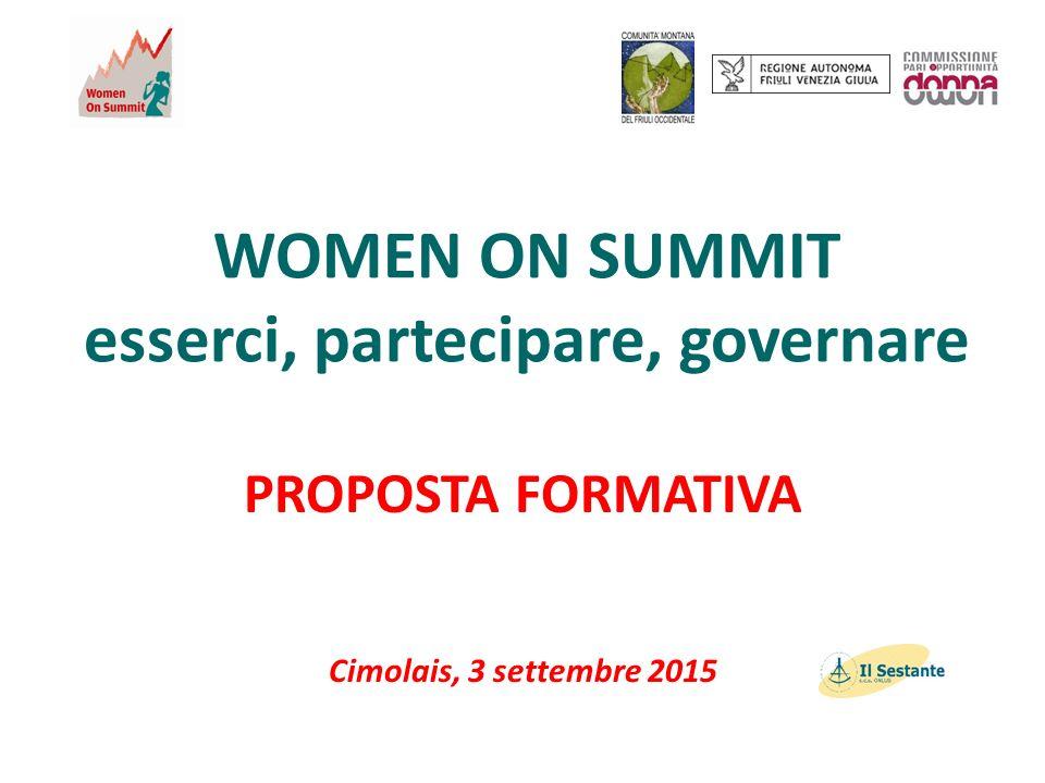 WOMEN ON SUMMIT esserci, partecipare, governare PROPOSTA FORMATIVA Cimolais, 3 settembre 2015