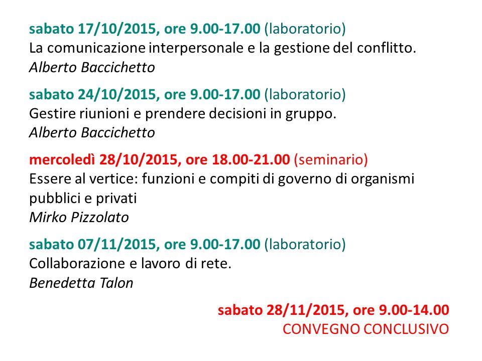 sabato 17/10/2015, ore 9.00-17.00 (laboratorio) La comunicazione interpersonale e la gestione del conflitto. Alberto Baccichetto sabato 24/10/2015, or