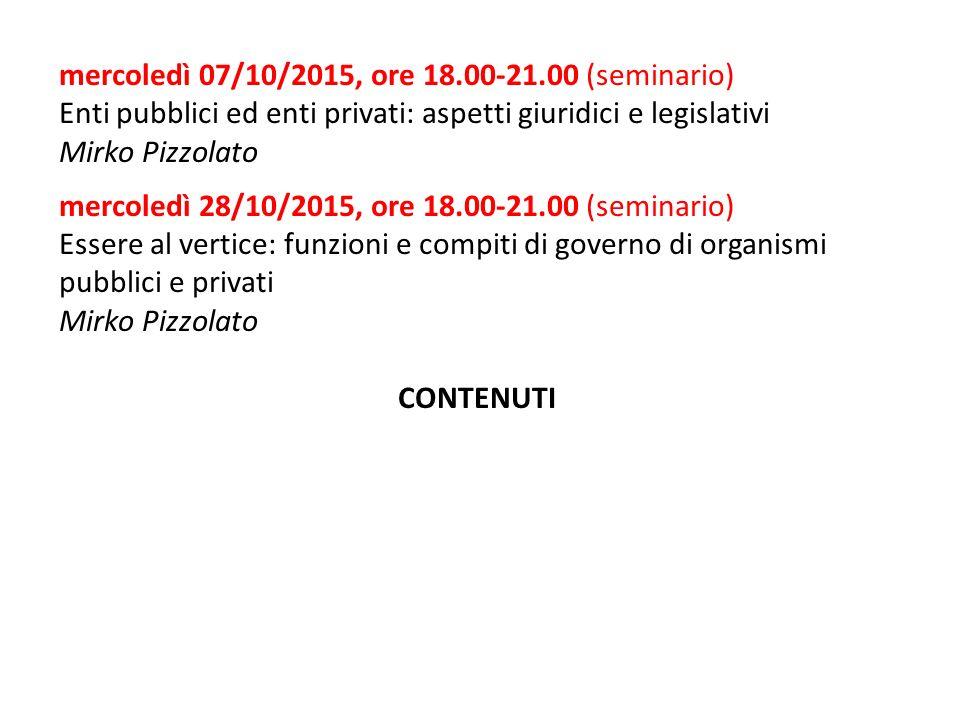 mercoledì 07/10/2015, ore 18.00-21.00 (seminario) Enti pubblici ed enti privati: aspetti giuridici e legislativi Mirko Pizzolato mercoledì 28/10/2015,