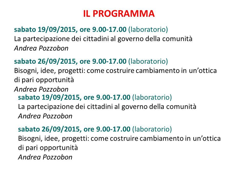 IL PROGRAMMA sabato 19/09/2015, ore 9.00-17.00 (laboratorio) La partecipazione dei cittadini al governo della comunità Andrea Pozzobon sabato 26/09/20