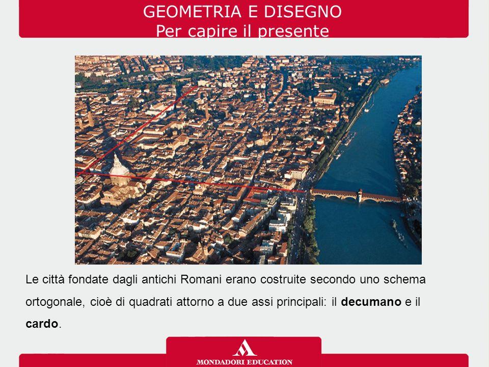 GEOMETRIA E DISEGNO Per capire il presente Le città fondate dagli antichi Romani erano costruite secondo uno schema ortogonale, cioè di quadrati attor