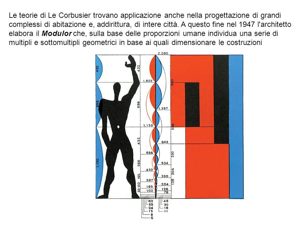 Le teorie di Le Corbusier trovano applicazione anche nella progettazione di grandi complessi di abitazione e, addirittura, di intere città. A questo f