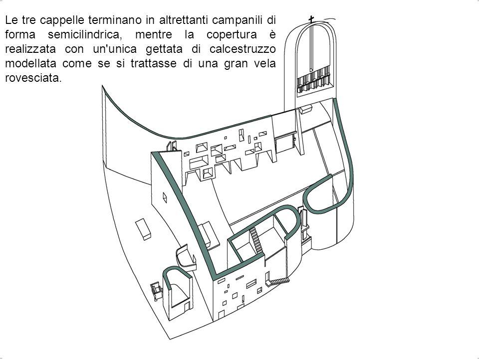 Le tre cappelle terminano in altrettanti campanili di forma semicilindrica, mentre la copertura è realizzata con un'unica gettata di calcestruzzo mode