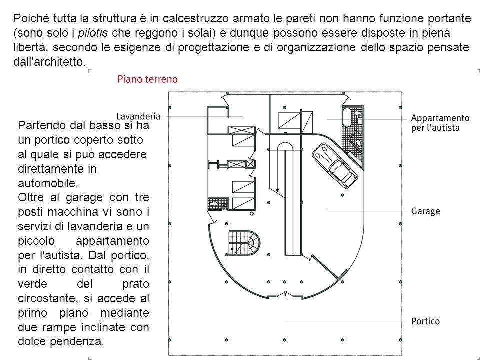 Partendo dal basso si ha un portico coperto sotto al quale si può accedere direttamente in automobile. Oltre al garage con tre posti macchina vi sono