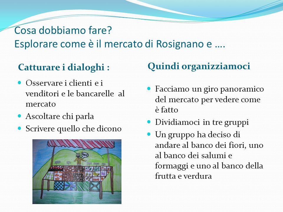 Cosa dobbiamo fare? Esplorare come è il mercato di Rosignano e …. Catturare i dialoghi : Quindi organizziamoci Osservare i clienti e i venditori e le