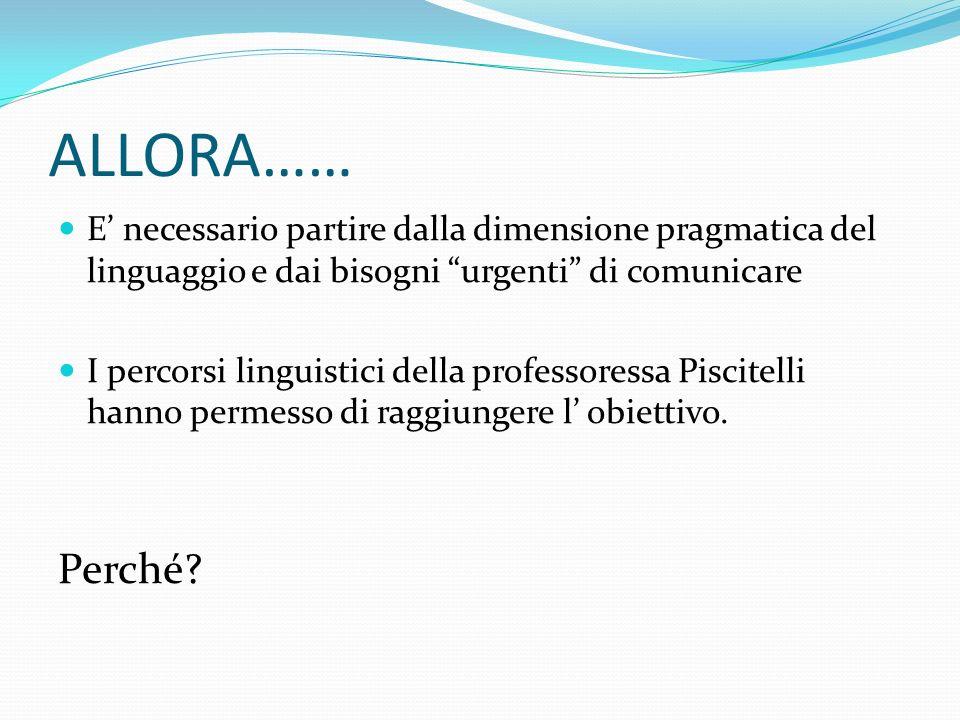 """ALLORA…… E' necessario partire dalla dimensione pragmatica del linguaggio e dai bisogni """"urgenti"""" di comunicare I percorsi linguistici della professor"""