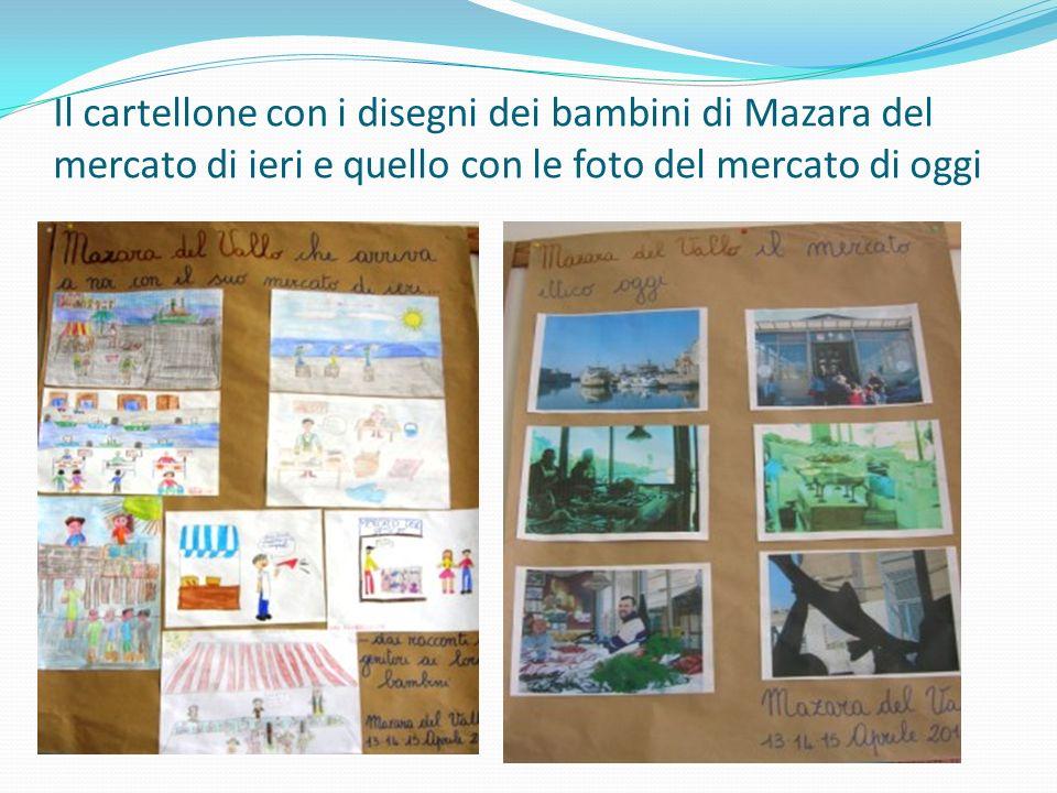 Il cartellone con i disegni dei bambini di Mazara del mercato di ieri e quello con le foto del mercato di oggi