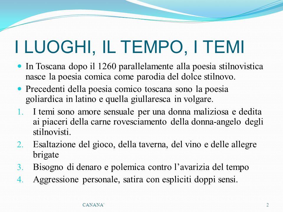 I LUOGHI, IL TEMPO, I TEMI In Toscana dopo il 1260 parallelamente alla poesia stilnovistica nasce la poesia comica come parodia del dolce stilnovo. Pr