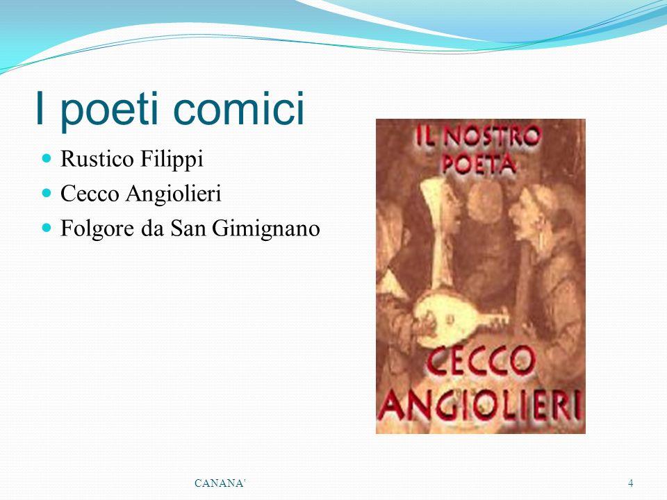 I poeti comici Rustico Filippi Cecco Angiolieri Folgore da San Gimignano 4CANANA'