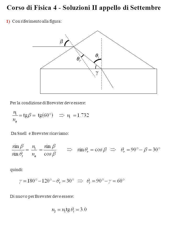 Corso di Fisica 4 - Soluzioni II appello di Settembre 1) Con riferimento alla figura: rr ii γ  Per la condizione di Brewster deve essere: Da Snell e Brewster ricaviamo: quindi: Di nuovo per Brewster deve essere:
