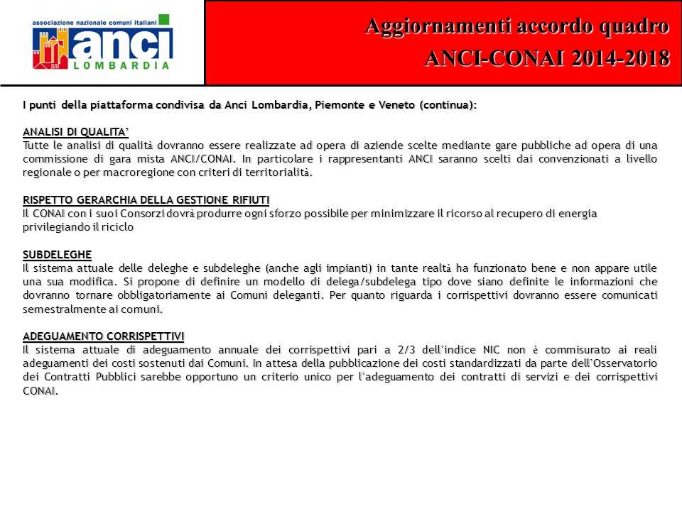 Aggiornamenti accordo quadro ANCI-CONAI 2014-2018 I punti della piattaforma condivisa da Anci Lombardia, Piemonte e Veneto (continua): ANALISI DI QUAL
