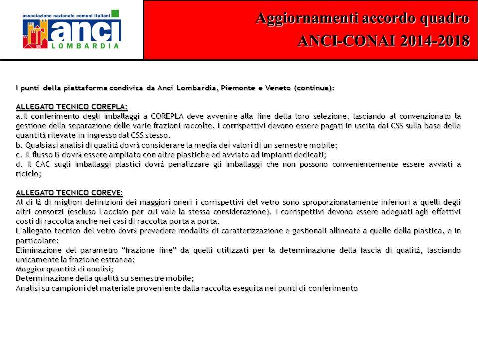 Aggiornamenti accordo quadro ANCI-CONAI 2014-2018 I punti della piattaforma condivisa da Anci Lombardia, Piemonte e Veneto (continua): ALLEGATO TECNIC
