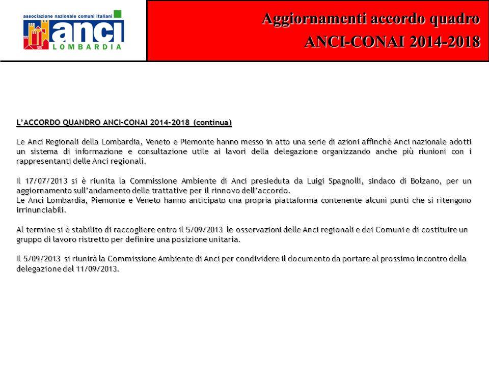 Aggiornamenti accordo quadro ANCI-CONAI 2014-2018 L'ACCORDO QUANDRO ANCI-CONAI 2014-2018 (continua) Le Anci Regionali della Lombardia, Veneto e Piemon