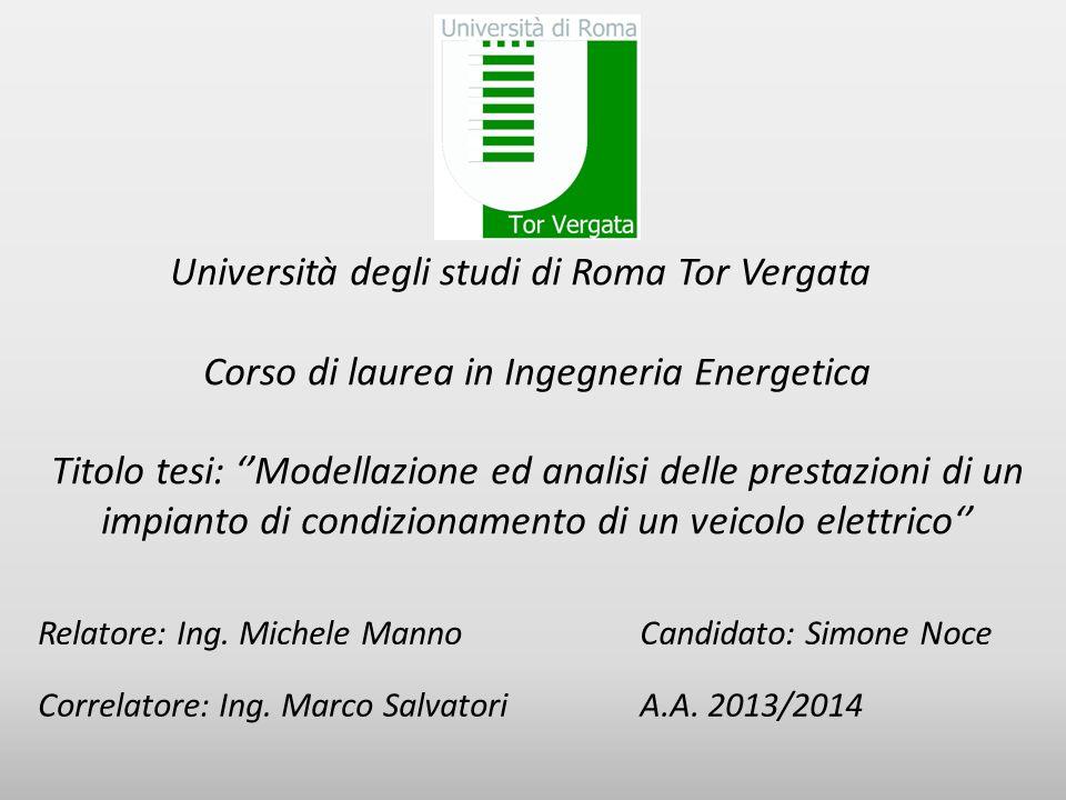 Università degli studi di Roma Tor Vergata Corso di laurea in Ingegneria Energetica Titolo tesi: ''Modellazione ed analisi delle prestazioni di un imp