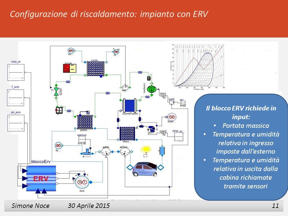 1 2 3 Simone Noce 30 Aprile 2015 Simone Noce 30 Aprile 2015 11 Il blocco ERV richiede in input: Portata massica Temperatura e umidità relativa in ingr
