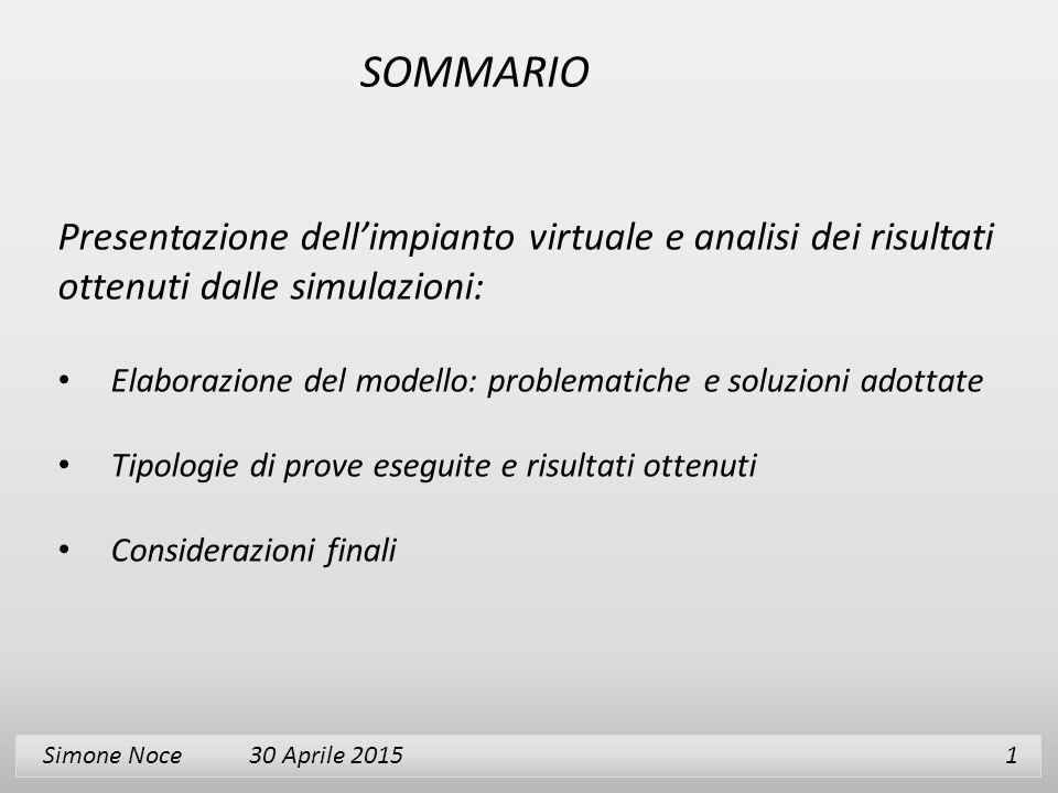 Simone Noce 30 Aprile 2015 1 Presentazione dell'impianto virtuale e analisi dei risultati ottenuti dalle simulazioni: Elaborazione del modello: proble