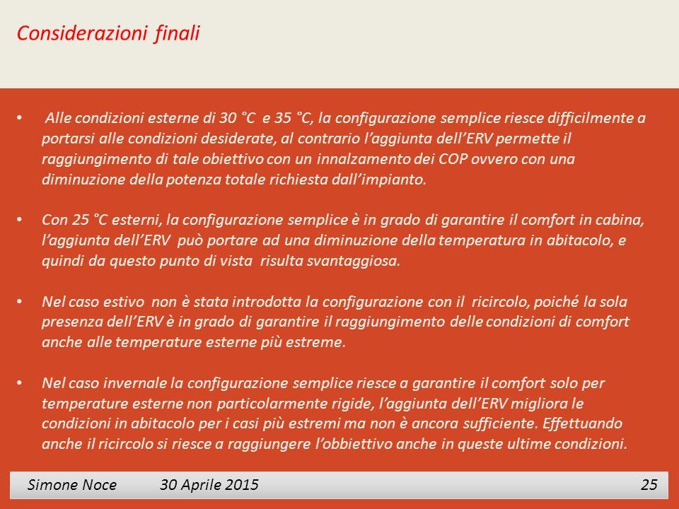 Simone Noce 30 Aprile 2015 Simone Noce 30 Aprile 2015 25 Considerazioni finali Alle condizioni esterne di 30 °C e 35 °C, la configurazione semplice ri