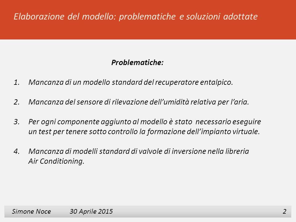 1 2 3 Simone Noce 30 Aprile 2015 Simone Noce 30 Aprile 2015 2 Elaborazione del modello: problematiche e soluzioni adottate Problematiche: 1.Mancanza d