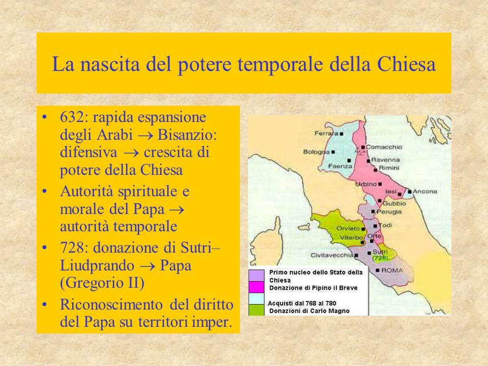 La nascita del potere temporale della Chiesa 632: rapida espansione degli Arabi  Bisanzio: difensiva  crescita di potere della Chiesa Autorità spiri