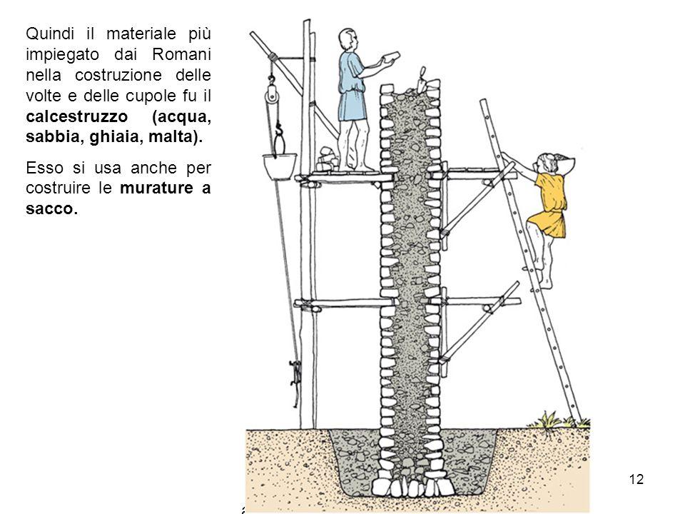 arch. Bianca Vitale 12 Quindi il materiale più impiegato dai Romani nella costruzione delle volte e delle cupole fu il calcestruzzo (acqua, sabbia, gh