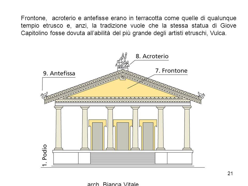 arch. Bianca Vitale 21 Frontone, acroterio e antefisse erano in terracotta come quelle di qualunque tempio etrusco e, anzi, la tradizione vuole che la