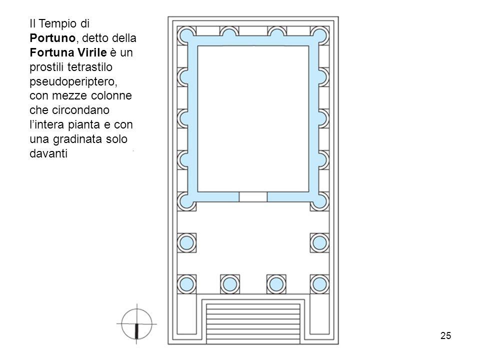 arch. Bianca Vitale 25 Il Tempio di Portuno, detto della Fortuna Virile è un prostili tetrastilo pseudoperiptero, con mezze colonne che circondano l'i