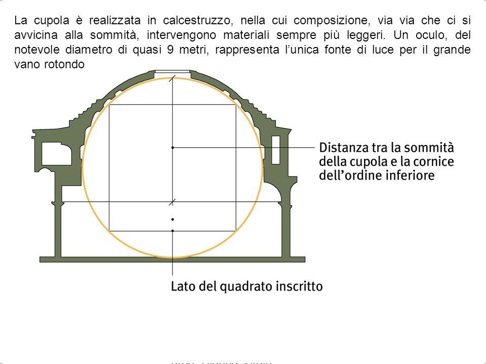 arch. Bianca Vitale 35 La cupola è realizzata in calcestruzzo, nella cui composizione, via via che ci si avvicina alla sommità, intervengono materiali