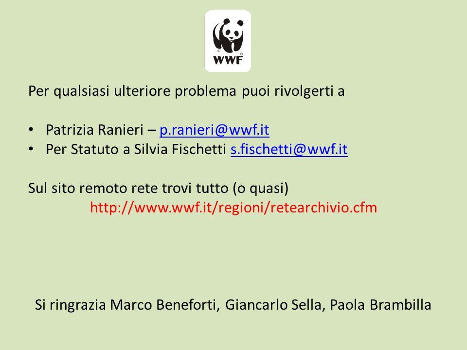 Per qualsiasi ulteriore problema puoi rivolgerti a Patrizia Ranieri – p.ranieri@wwf.itp.ranieri@wwf.it Per Statuto a Silvia Fischetti s.fischetti@wwf.its.fischetti@wwf.it Sul sito remoto rete trovi tutto (o quasi) http://www.wwf.it/regioni/retearchivio.cfm Si ringrazia Marco Beneforti, Giancarlo Sella, Paola Brambilla